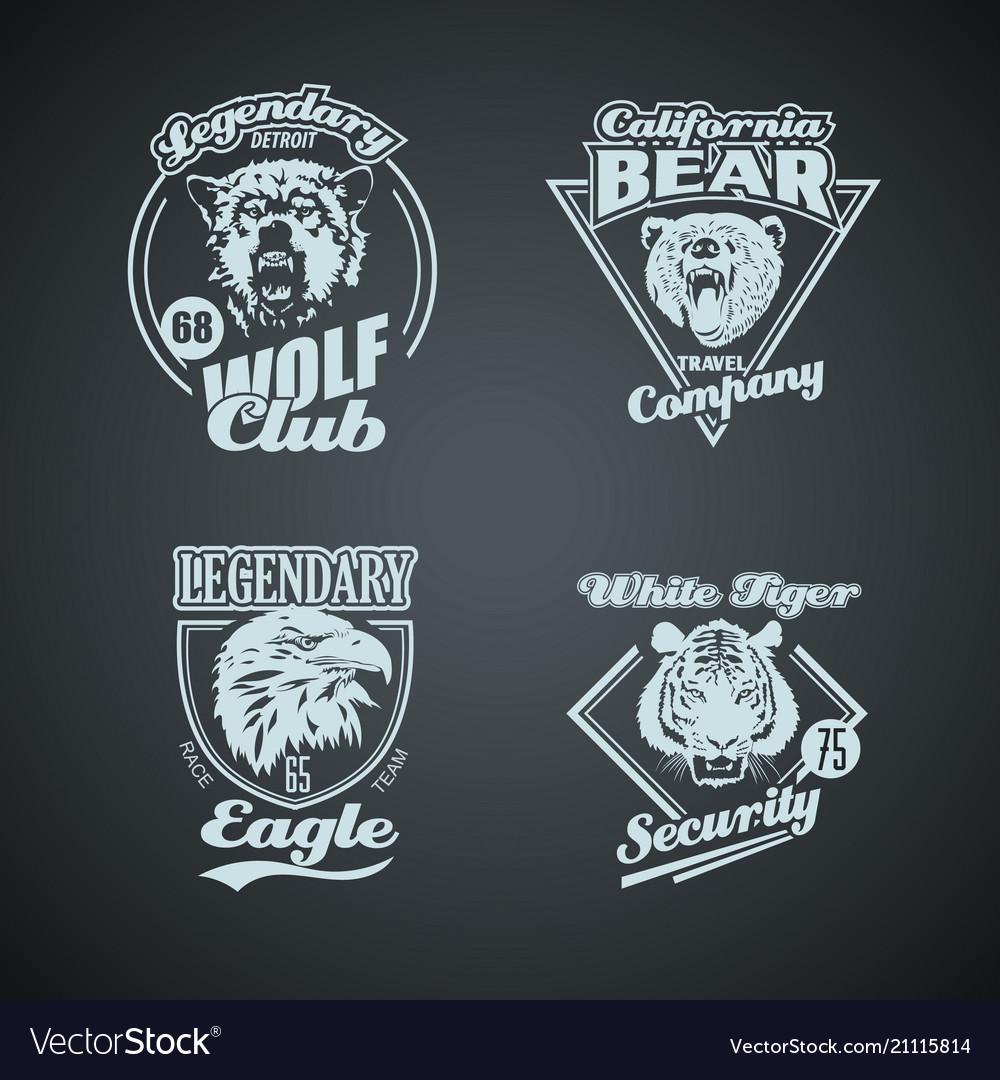 Set of vintage wild animal retro logos