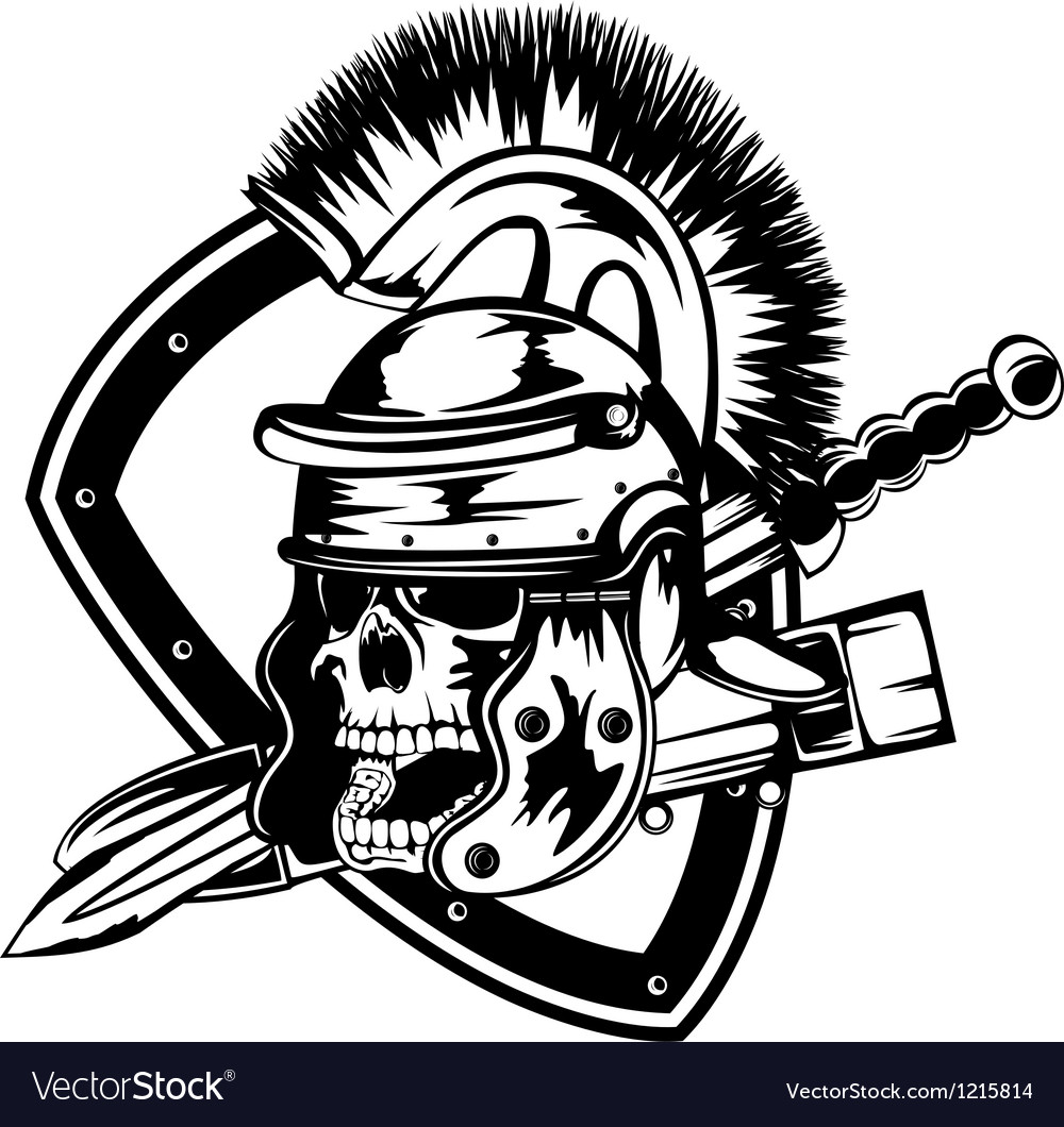 Skull in legionary helmet vector image