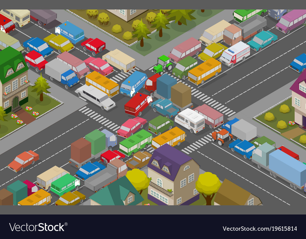 Traffic jam isometric cars and houses for