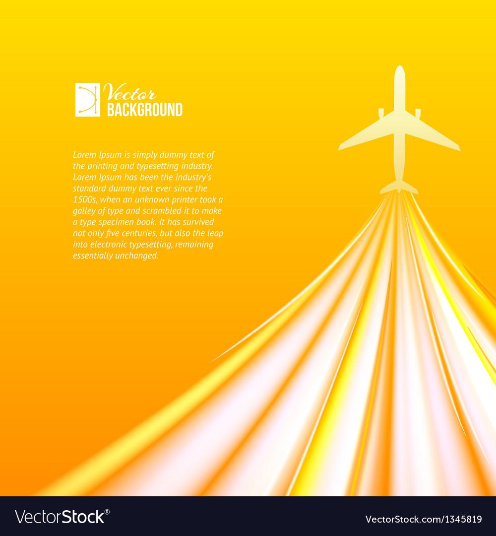 Airplane over orange background