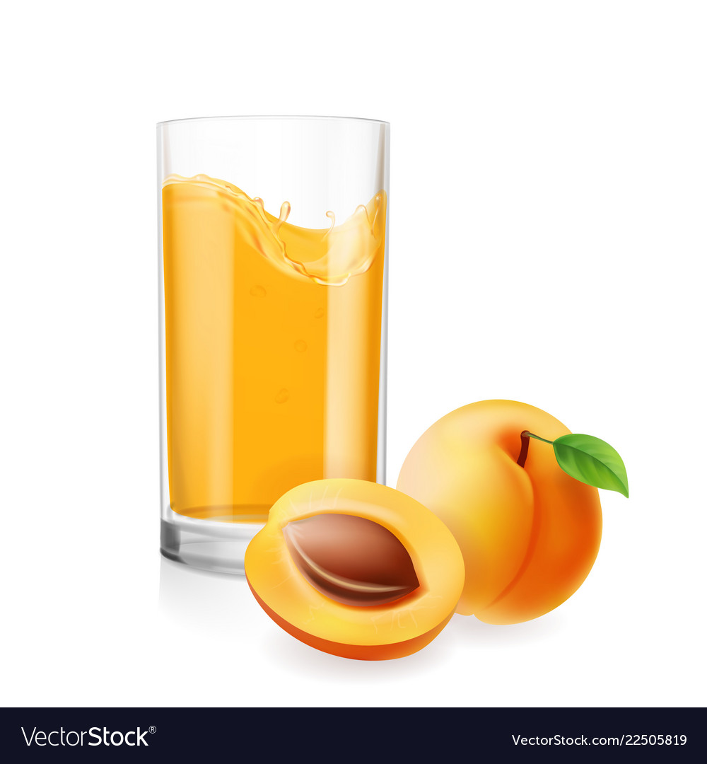 Apricots juice in glass 3d realistic