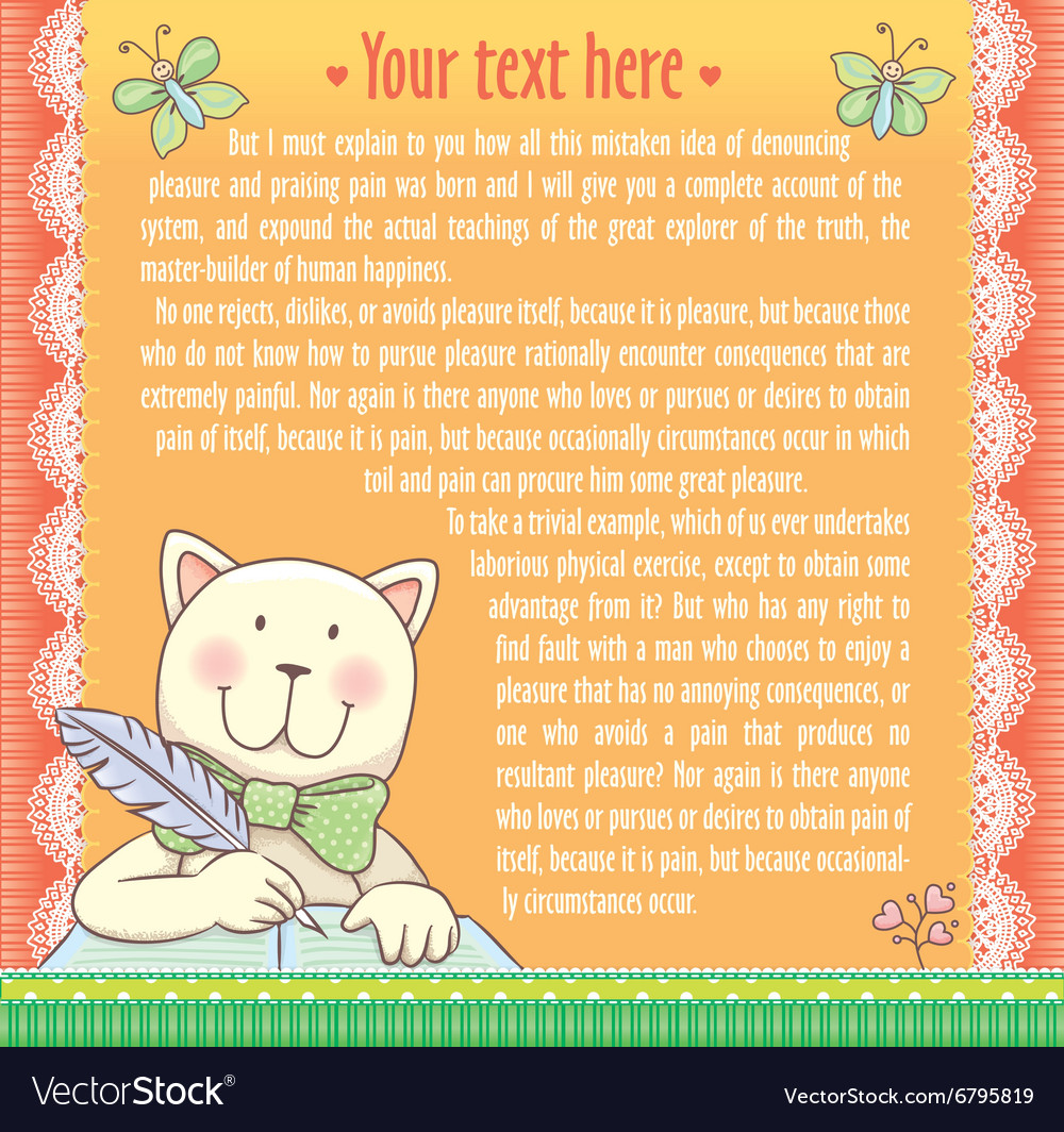 Background text cat writes vector image