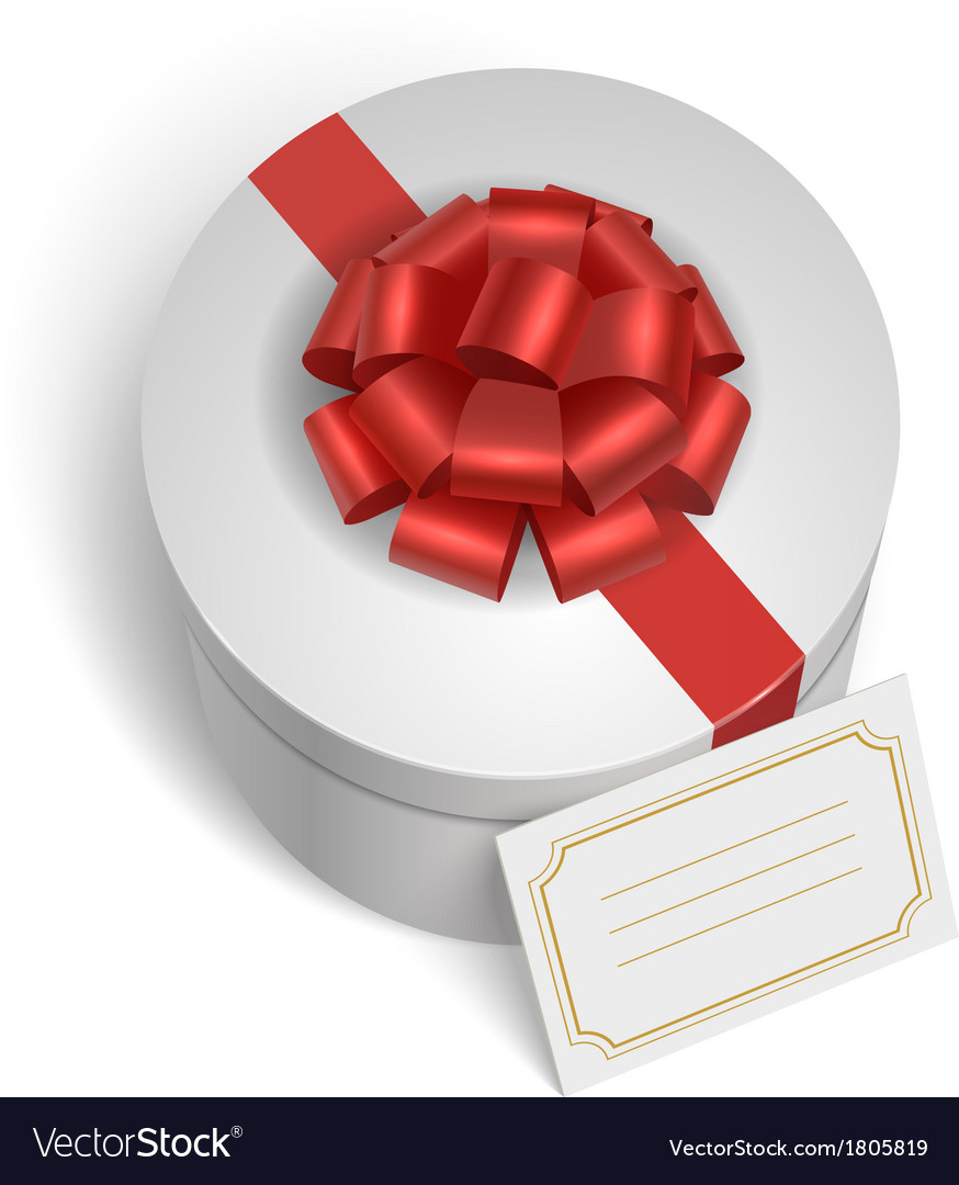 Classic gift box with red ribbon and bow