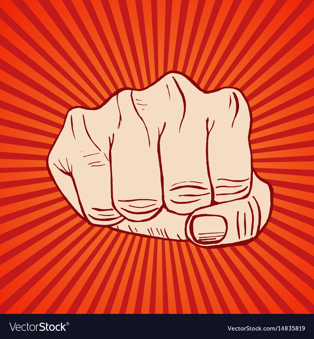 Fist hand draw sketch vector image