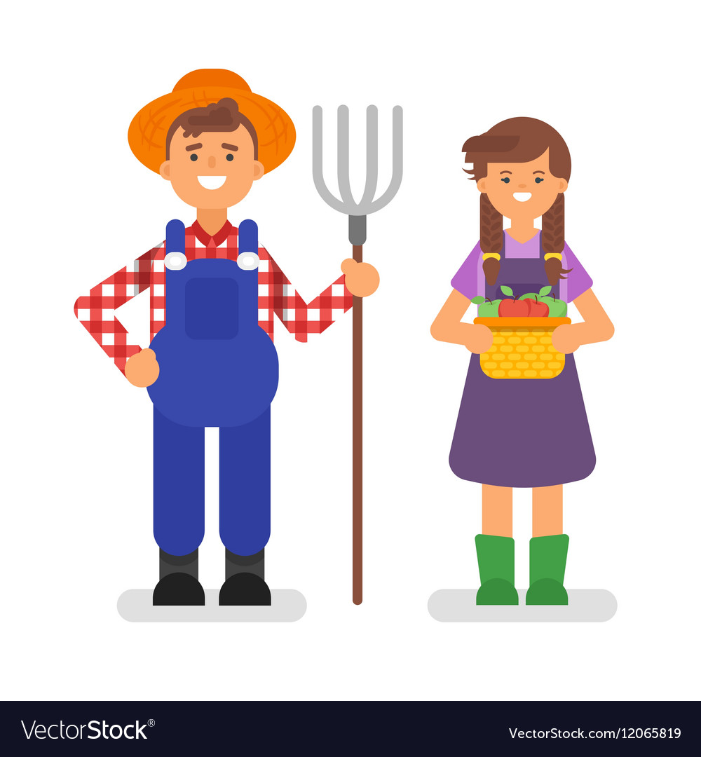 Flat style of farmers