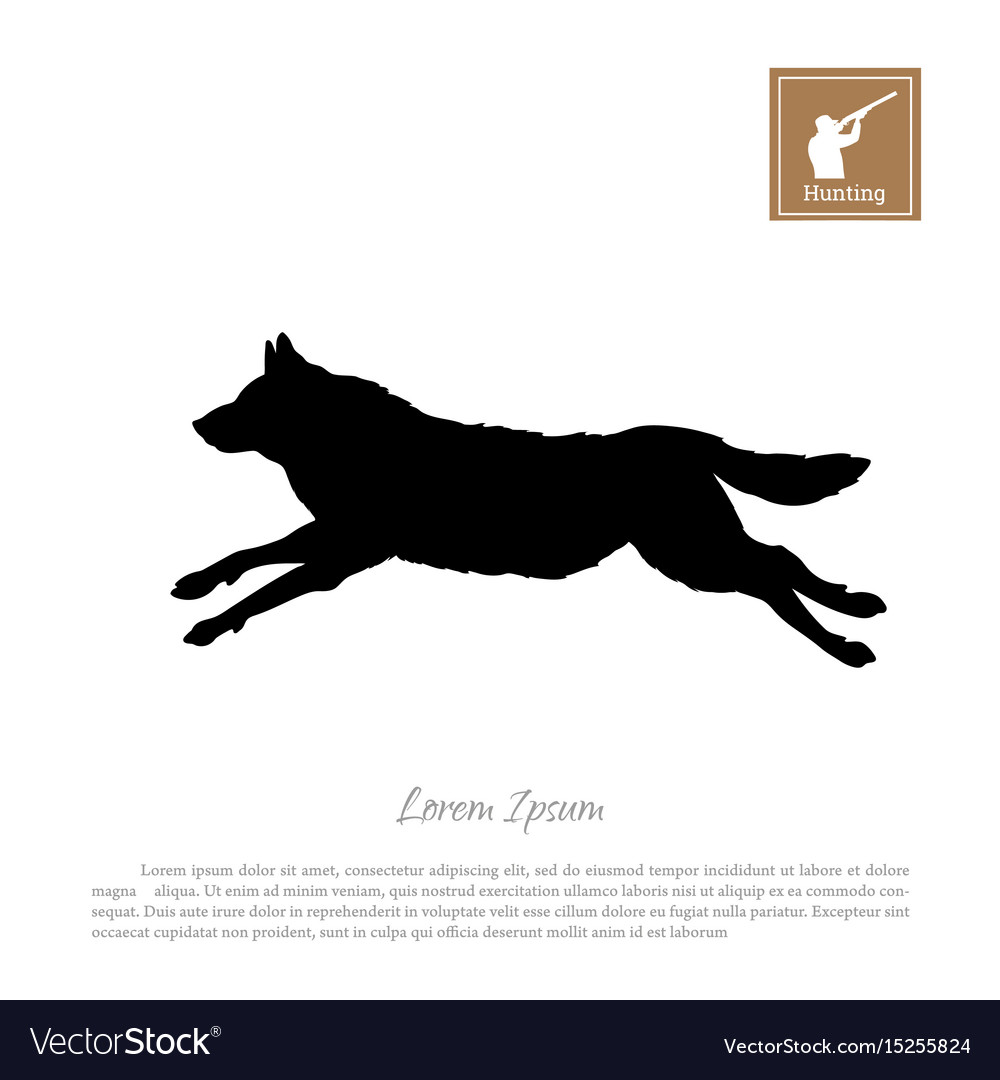 Black silhouette of a running wolf