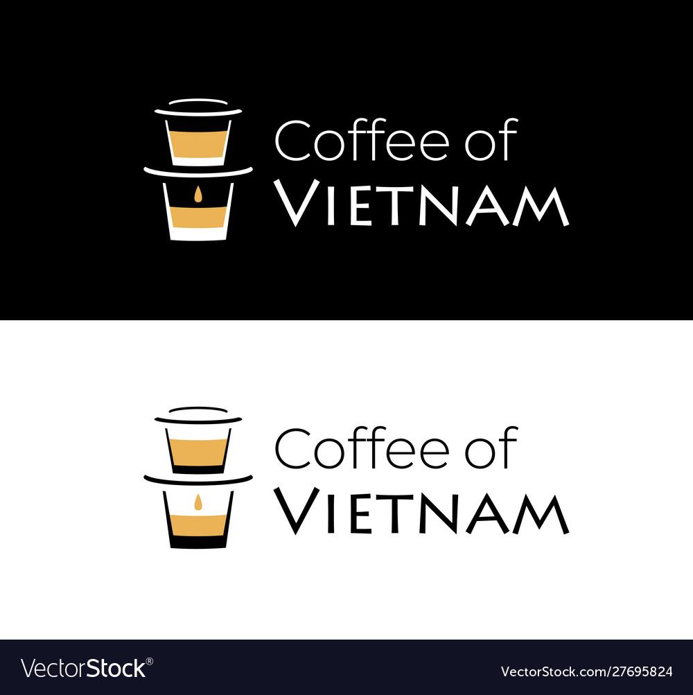 Coffee vietnam logo with vietnamese coffee