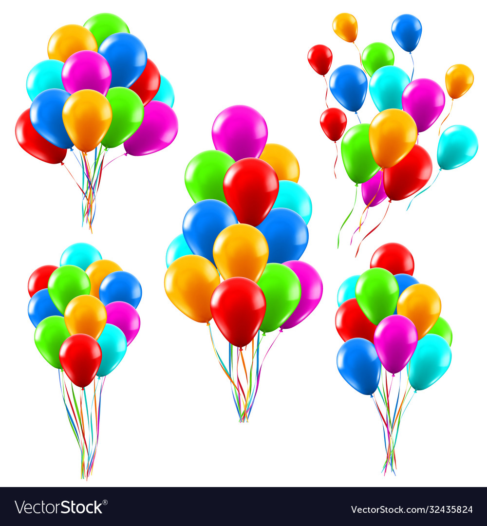 Colourful realistic balloons glossy green red