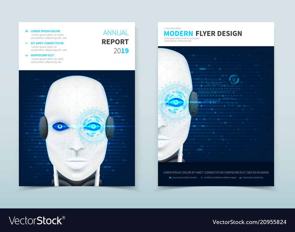 Corporate business flyer design with robot