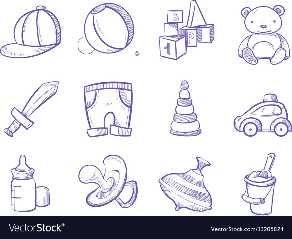 Doodle Kids Toys Hand Drawing Set Royalty Free Vector Image