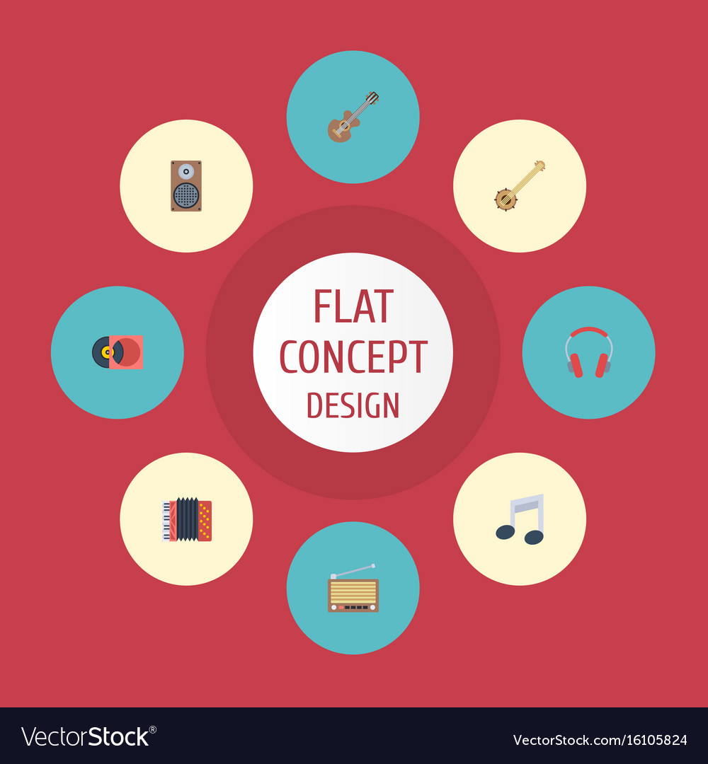 Flat icons banjo harmonica audio box and other vector image