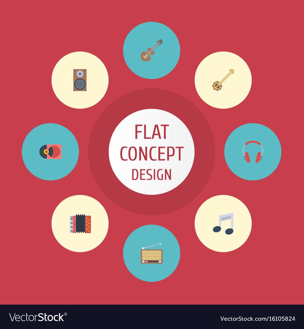 Flat icons banjo harmonica audio box and other