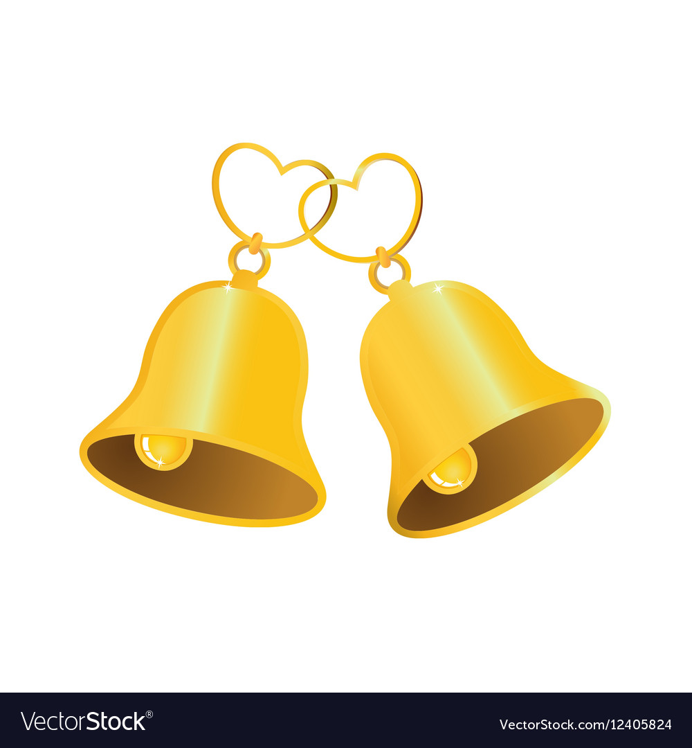 Wedding Bell Clipart: Golden Wedding Bell With Love Heart Royalty Free Vector