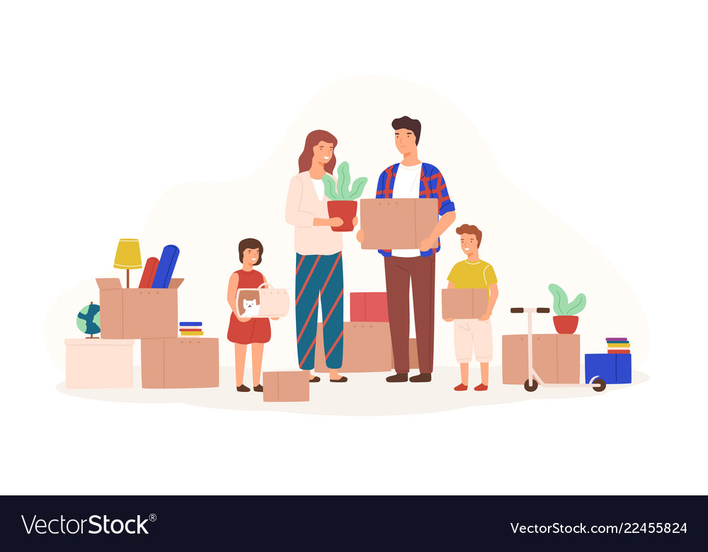 Hy Family Ng Stuff To Move New House Or Vector Image