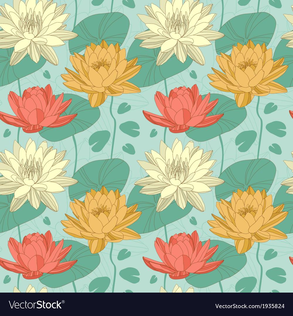 Lotus flowers in seamless pattern royalty free vector image lotus flowers in seamless pattern vector image izmirmasajfo