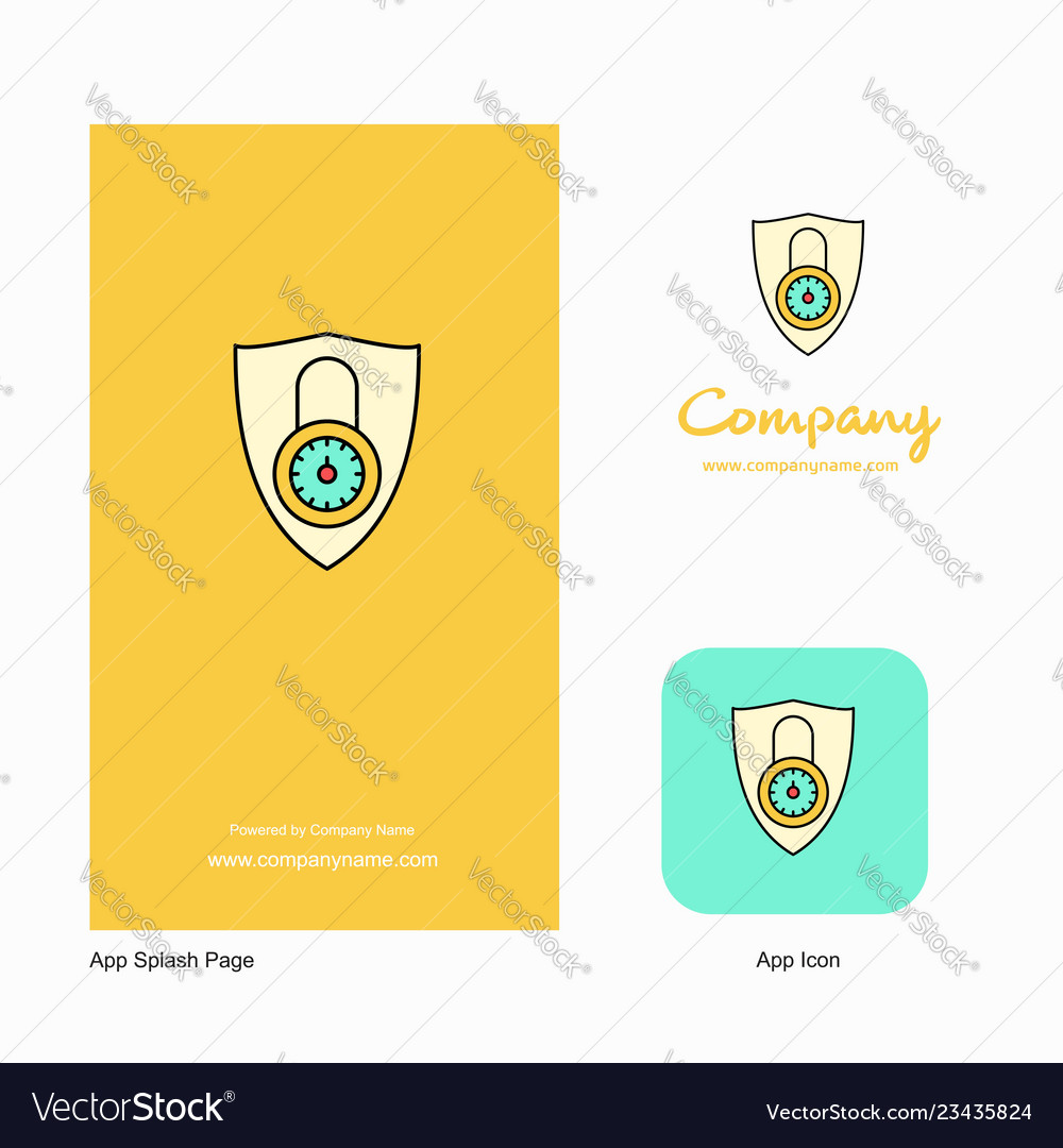 Protected Company Logo App Icon And Splash Page Vector Image