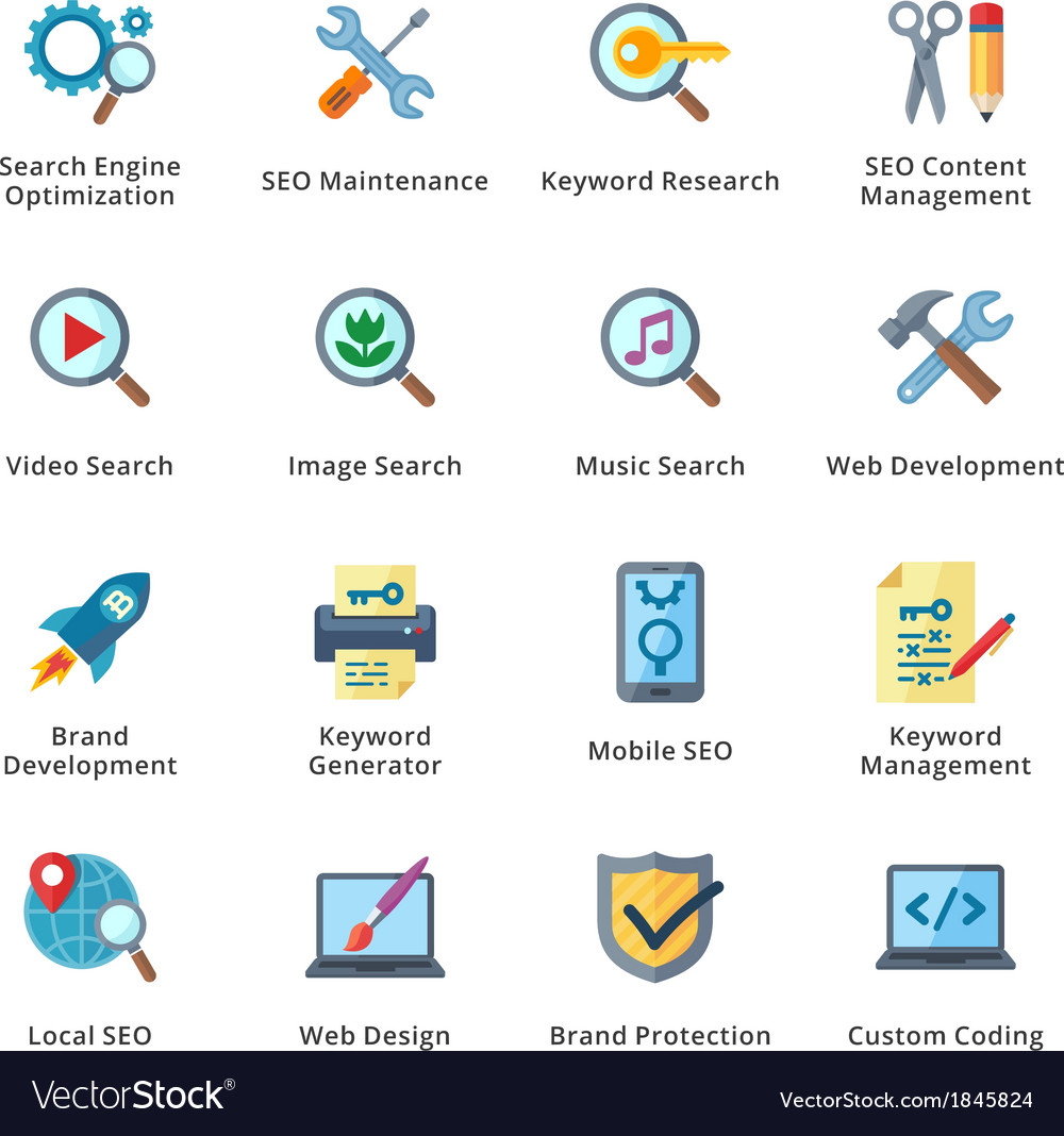 SEO and Internet Marketing Flat Icons - Set 1 vector image