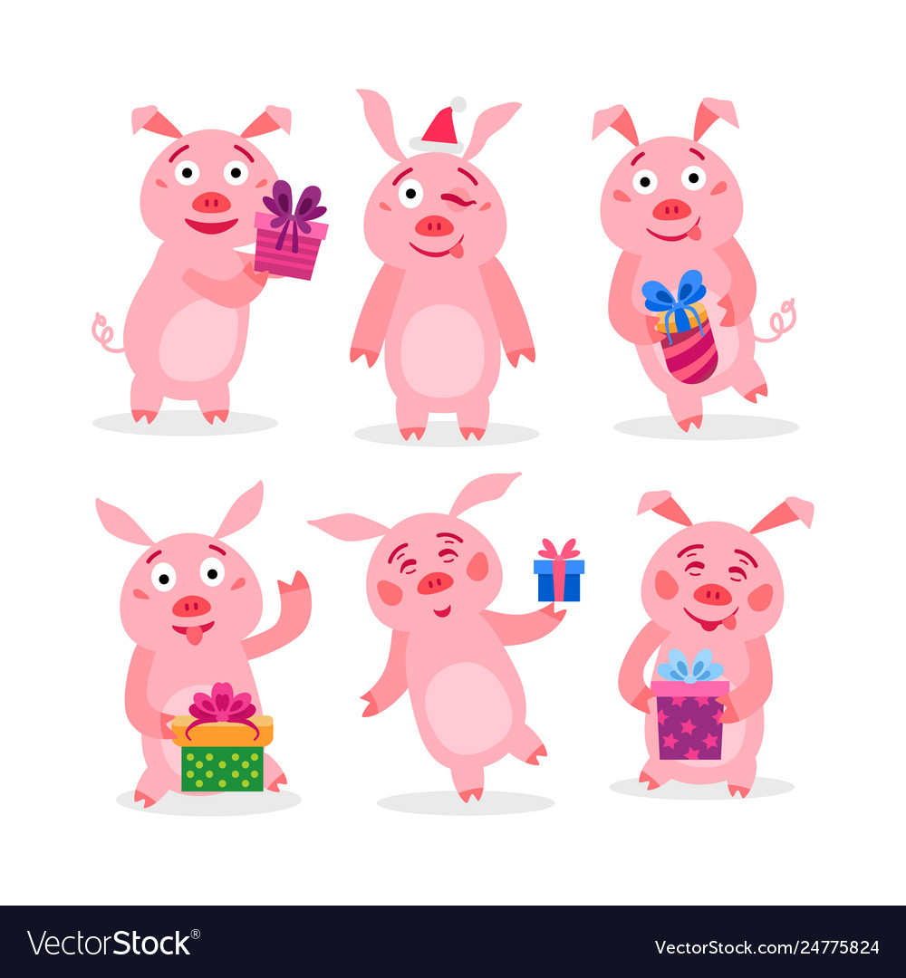 Set christmas pigs with christmas gifts