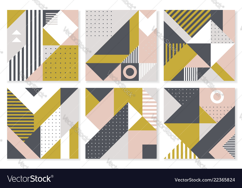 Set of 6 backgrounds with trendy geometric design