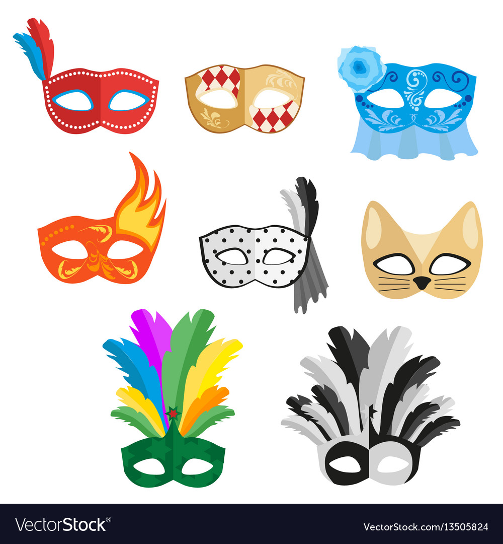 Set of multi-colored carnival masks for a festive