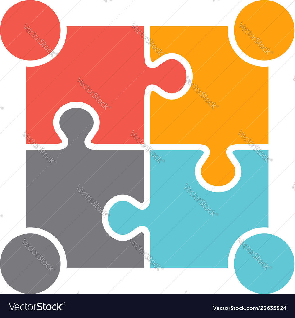 Teamwork people four puzzle persons design