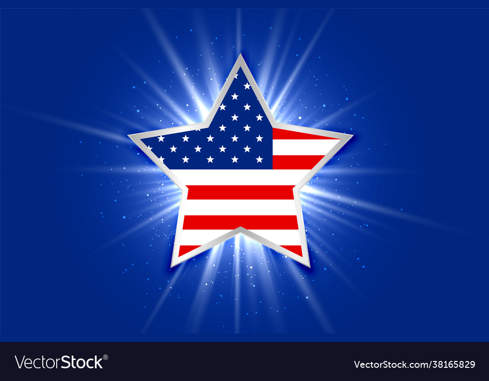 American flag inside a glowing star background