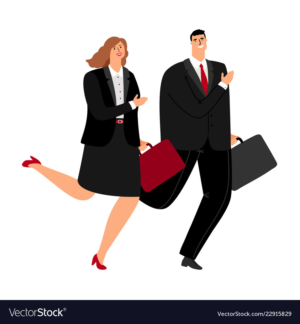 Business man and woman running