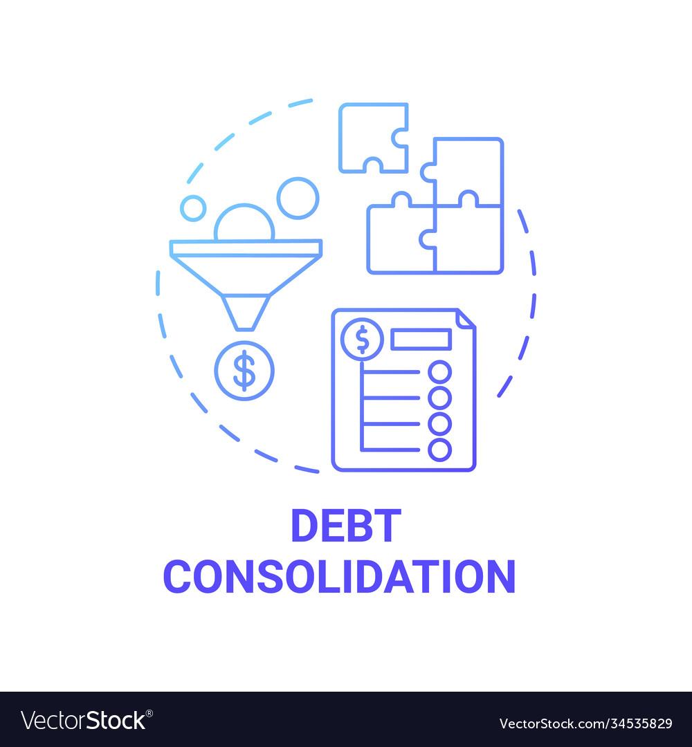Debt consolidation concept icon Royalty Free Vector Image