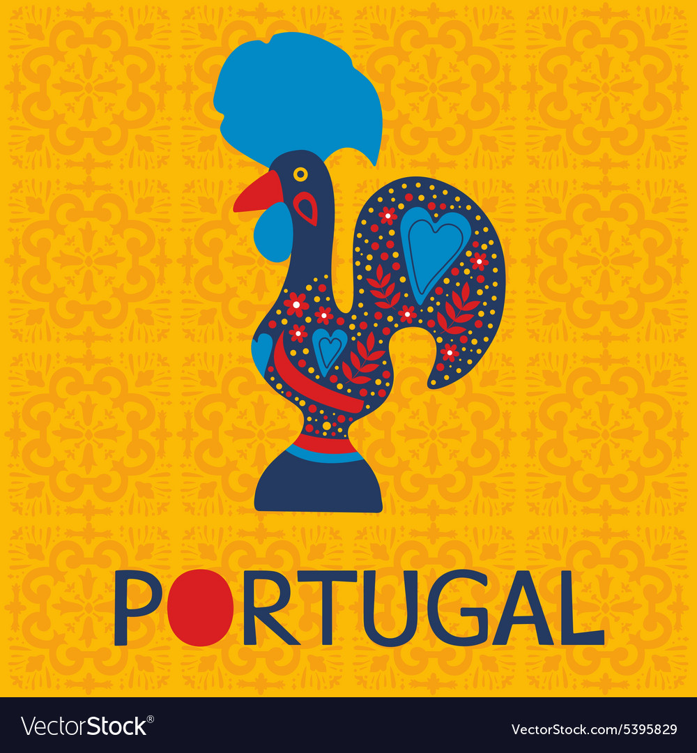 Decorated Barcelos Rooster Symbol Royalty Free Vector Image