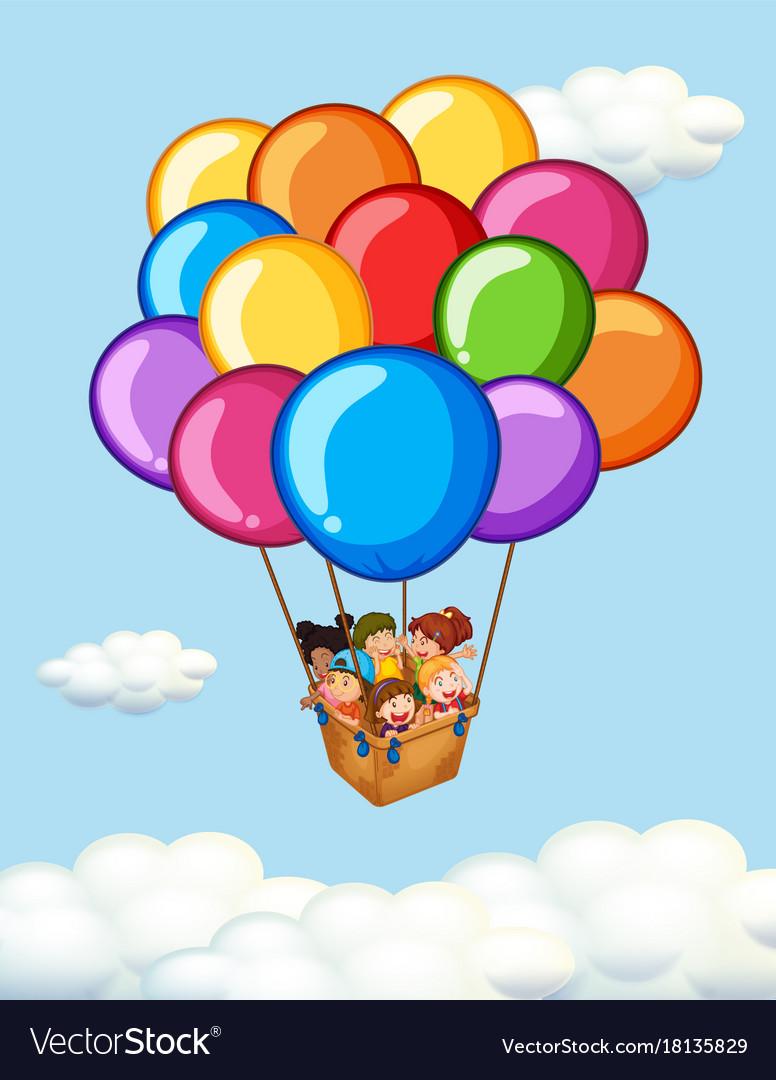 Happy children riding on balloons