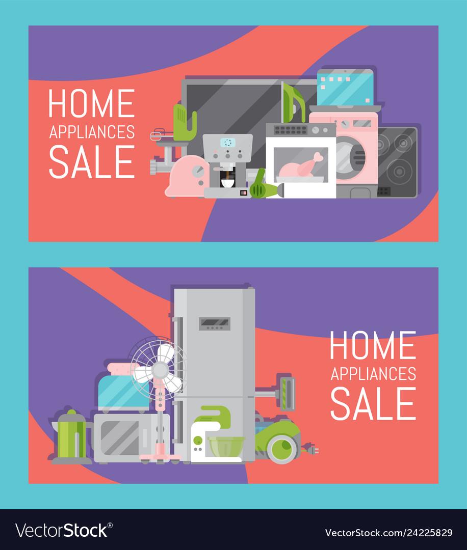 Home appliances sale banners flat