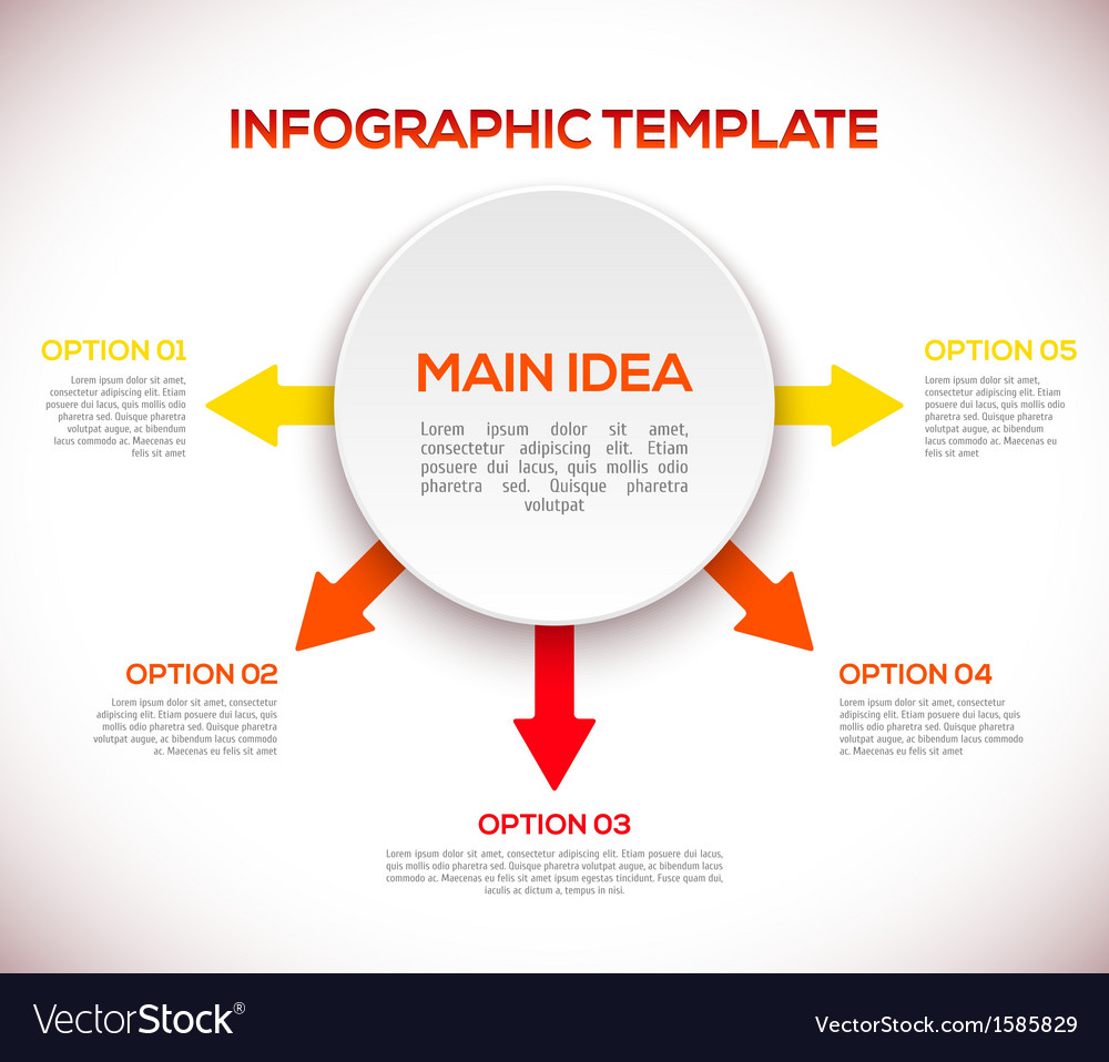 Infographics template with arrows and 3d circle