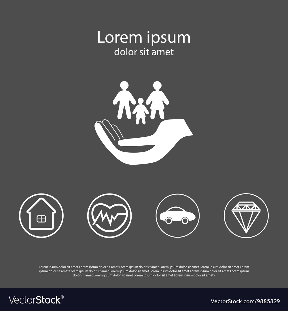 Insurance icons set in flat style