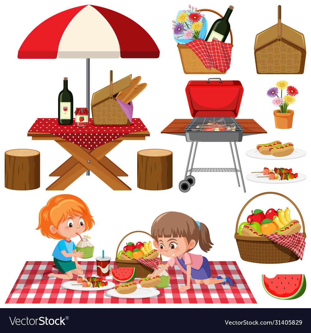 Picnic set with bbq grill and food on white