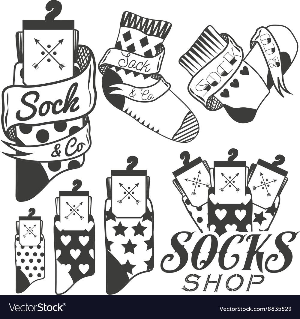 Set of socks emblems and labels