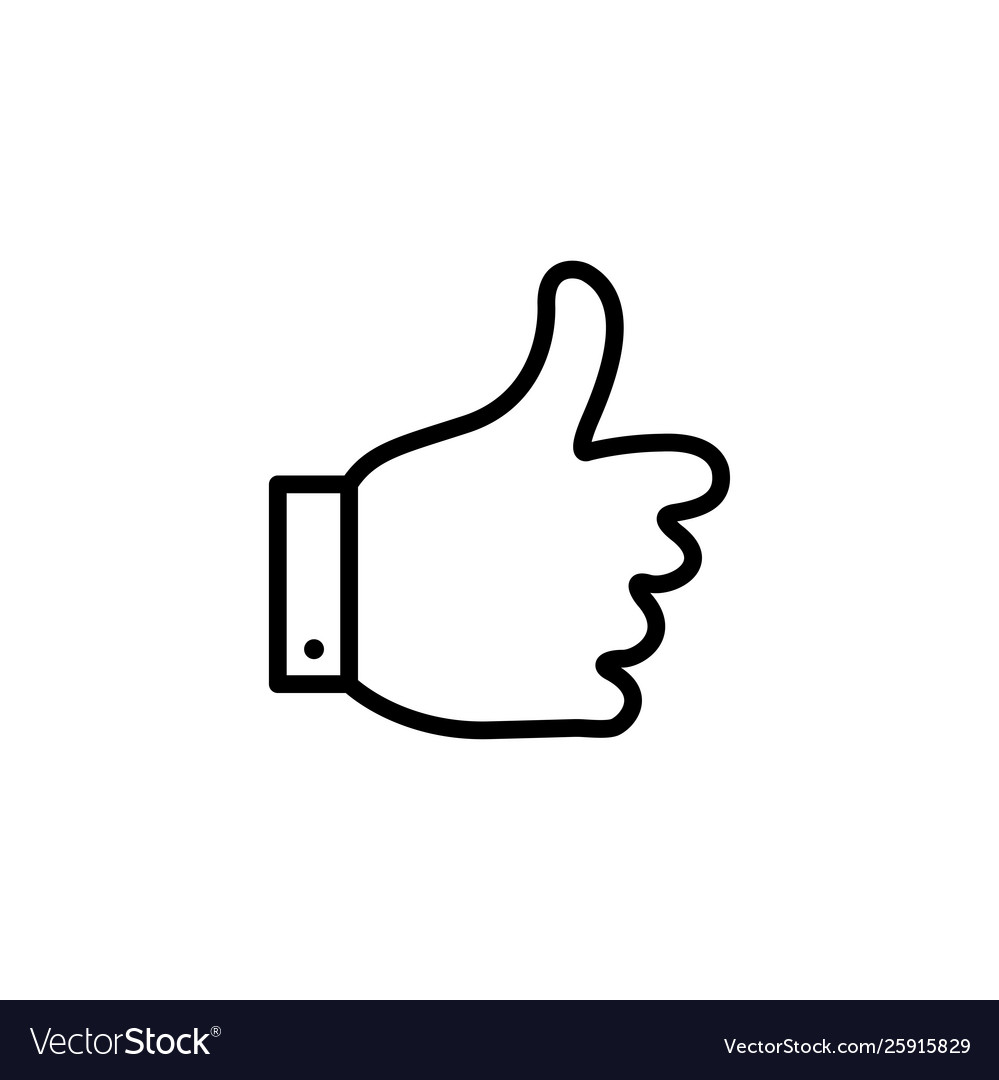 Thumbs up line icon in flat style for app ui