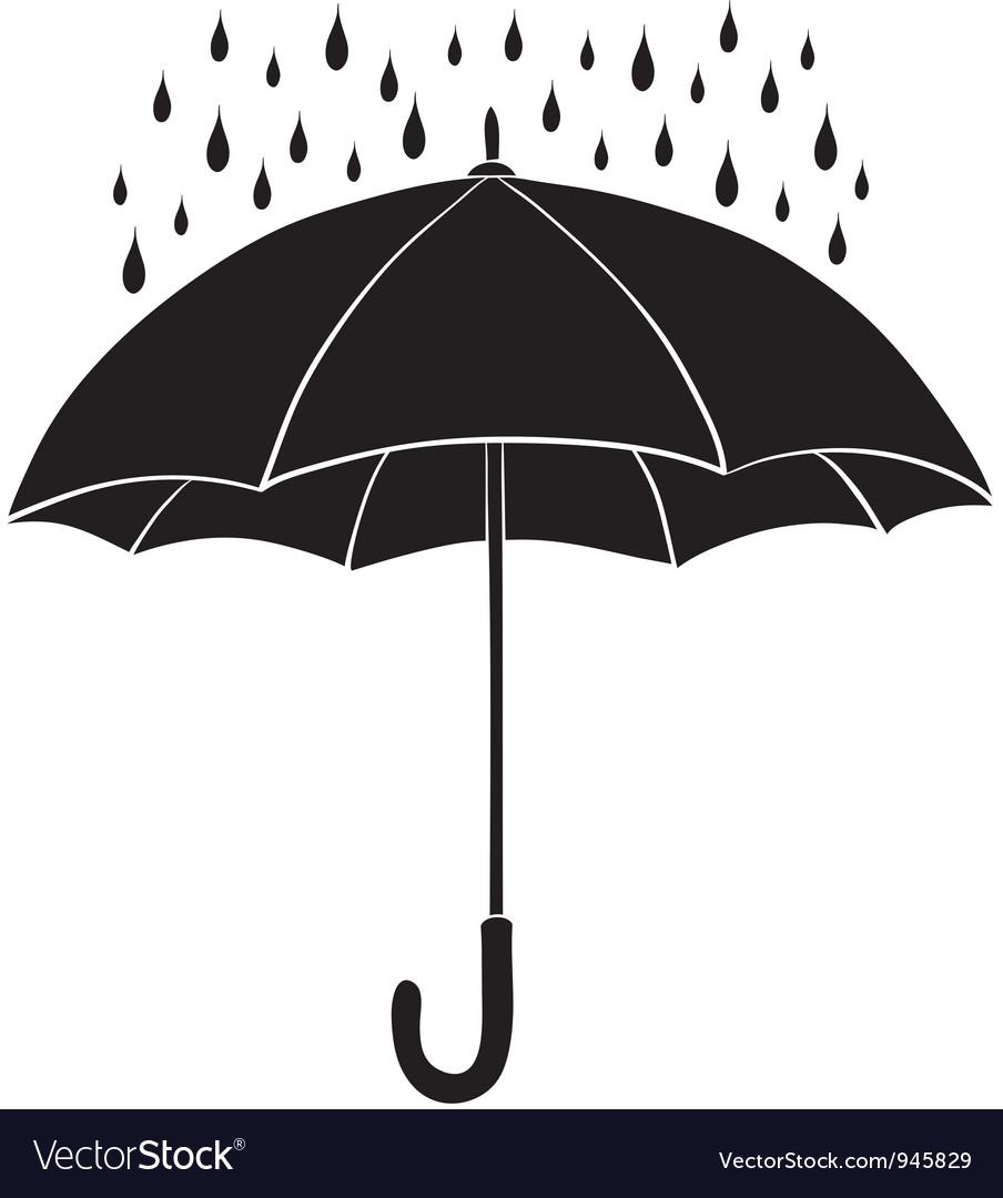 umbrella and rain silhouettes royalty free vector image