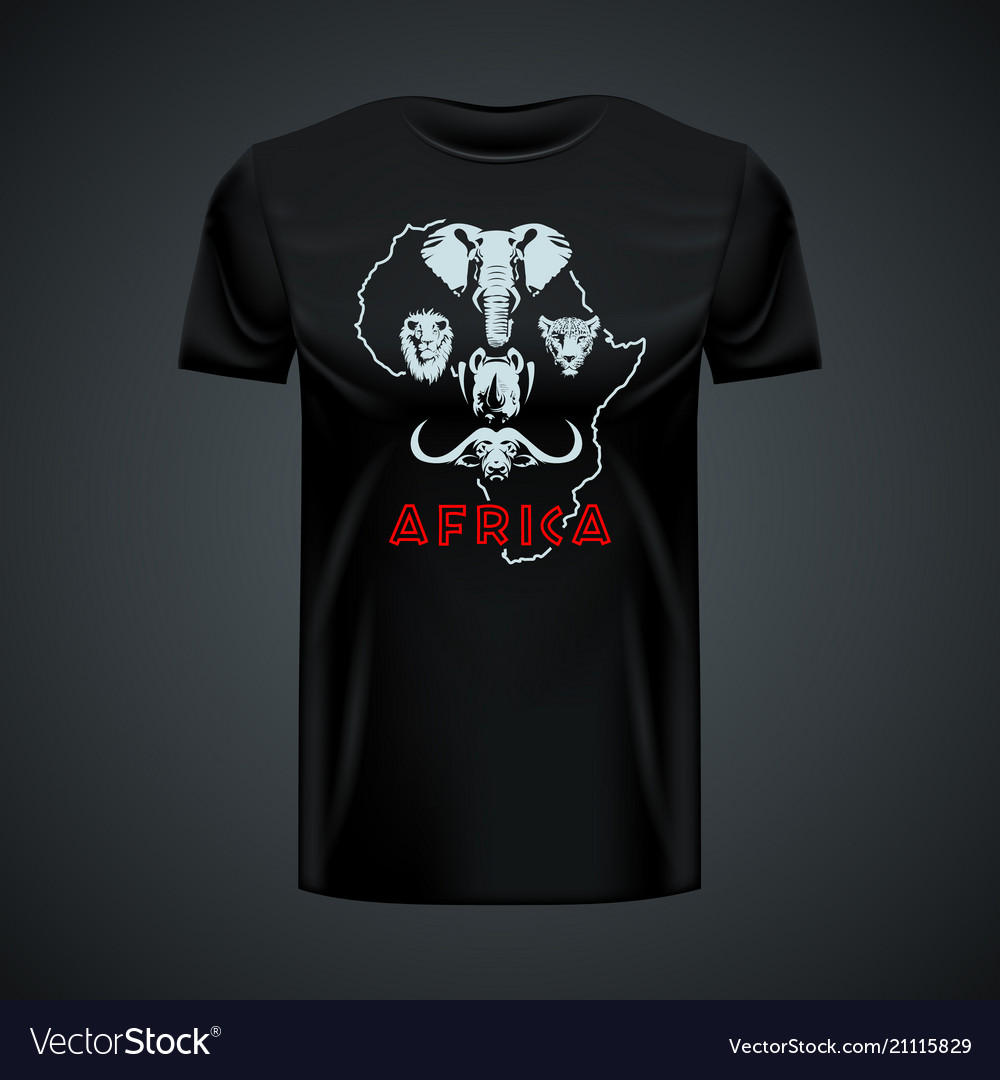 Vintage t-shirt with stylish african big five in