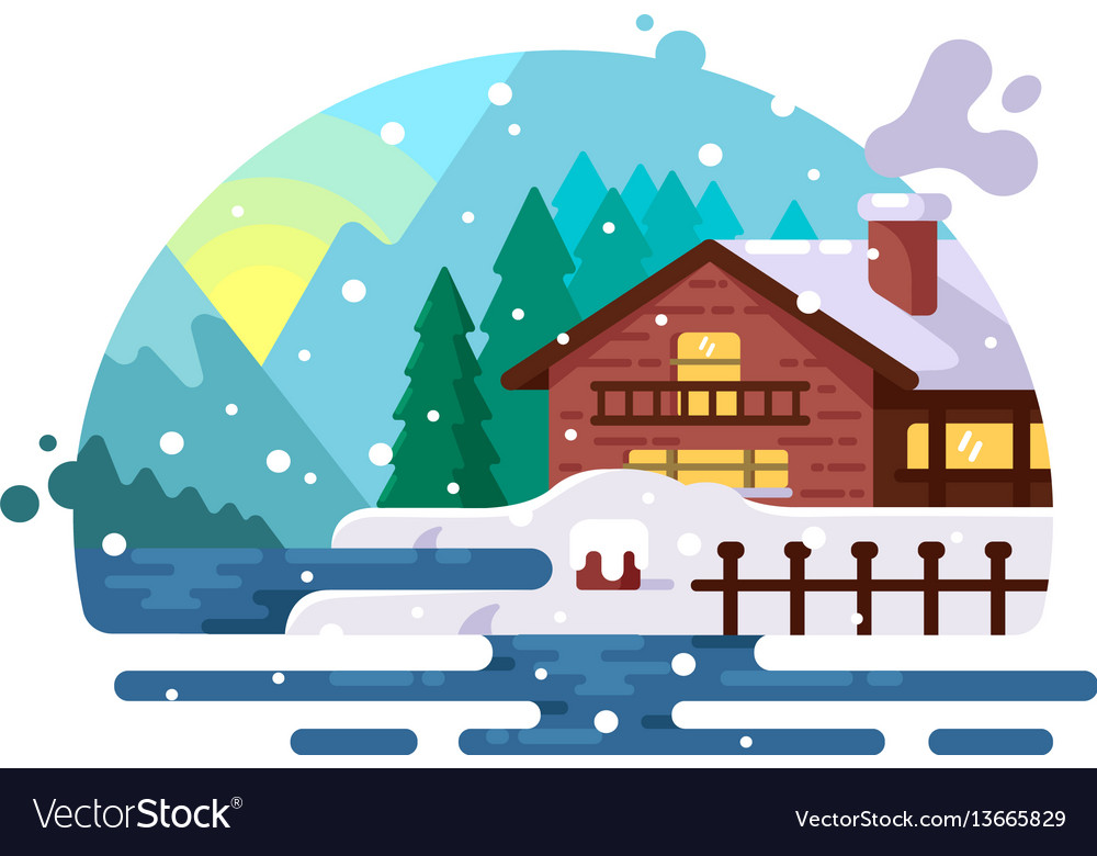 Wooden house on lake shore vector image