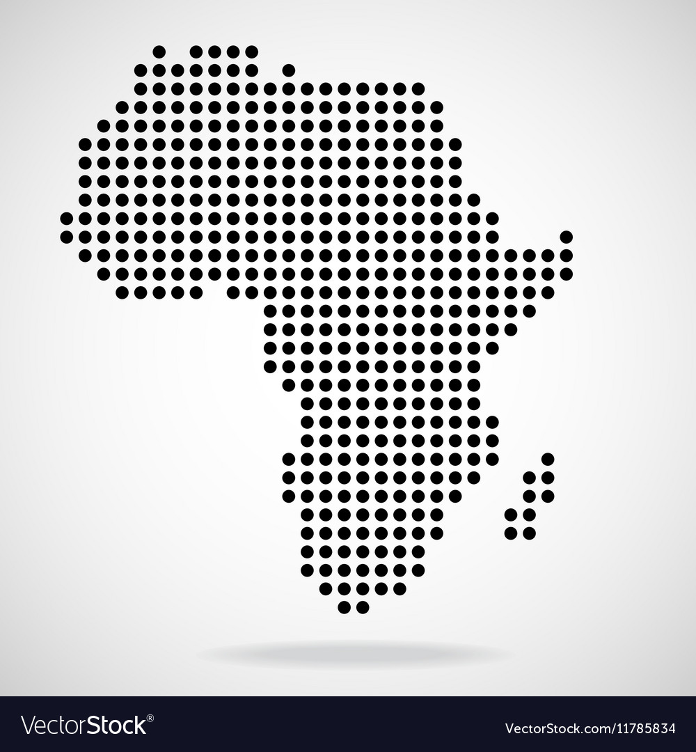 Abstract map of Africa from round dots