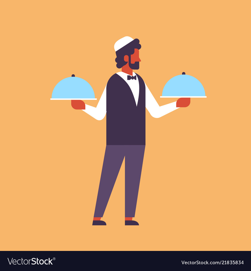 Arabic waiter hold covered plate tray lid service