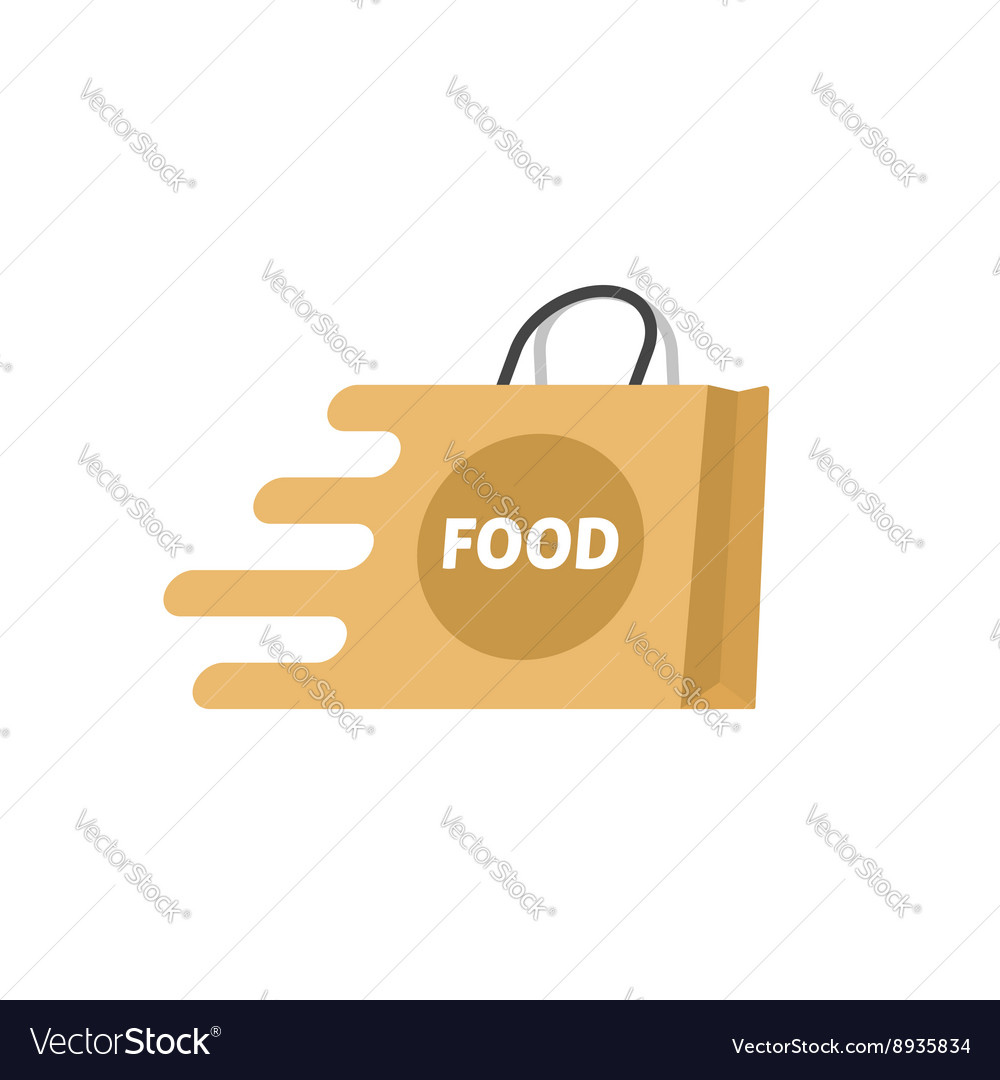 Food delivery logo isolated shopping bag