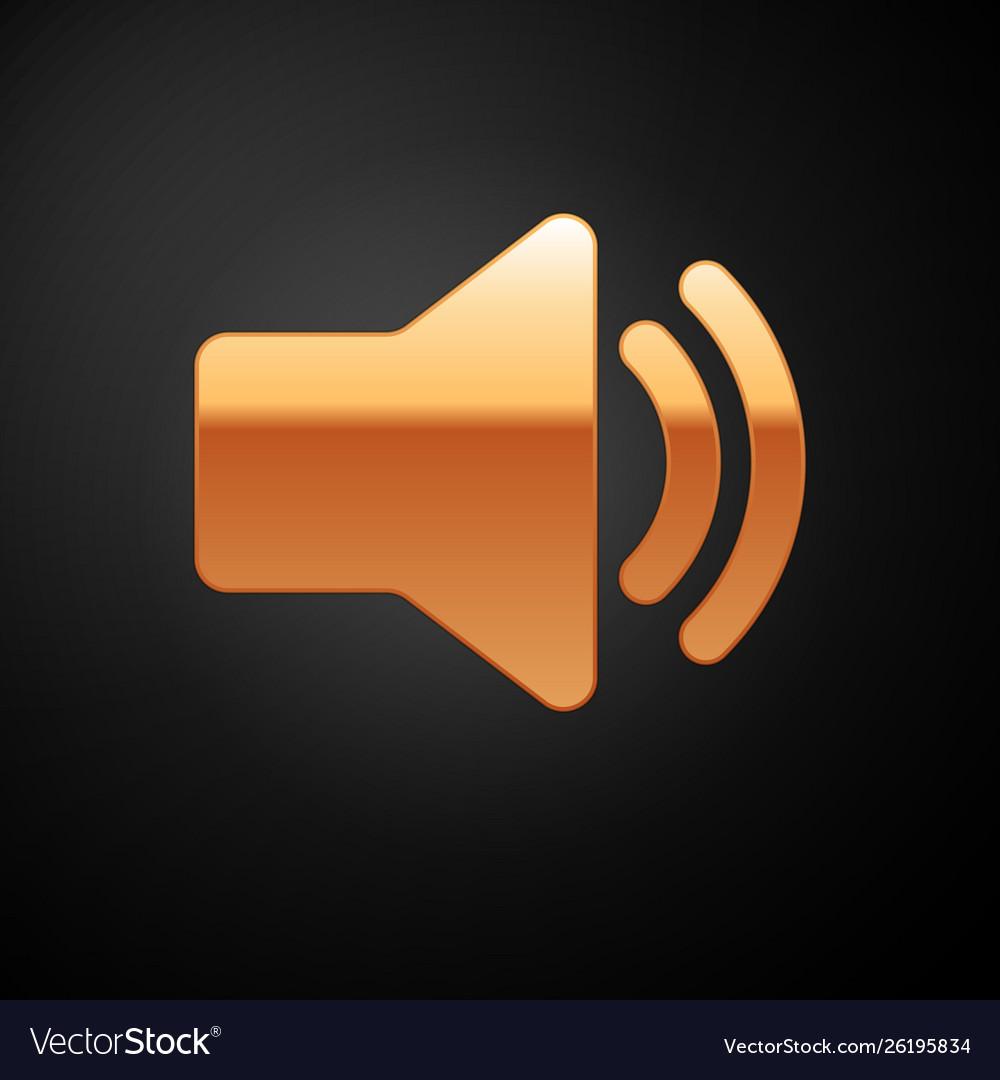 Gold speaker volume icon - audio voice sound