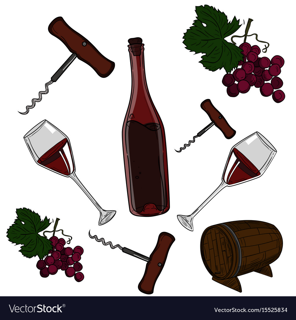 Hand drawn set - wine and winemaking vector image