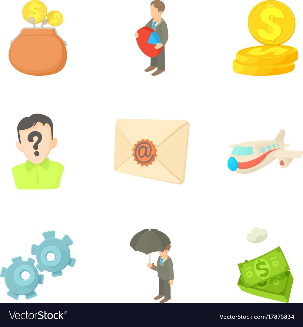 Money transfer icons set cartoon style