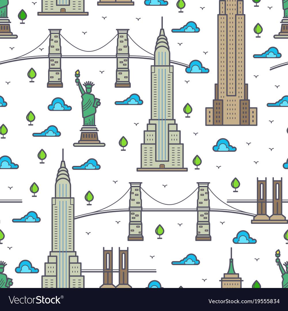 New york bridges skyscrapers seamless pattern
