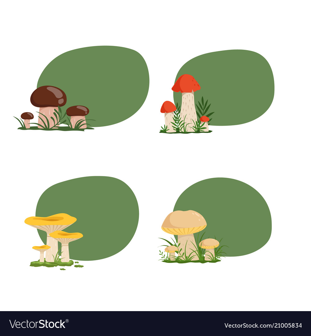 Set of stickers with cartoon mushrooms