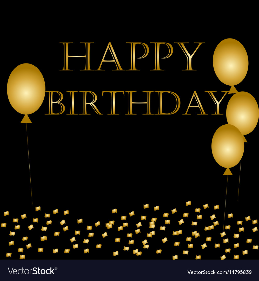 Balloons happy birthday on black vector image