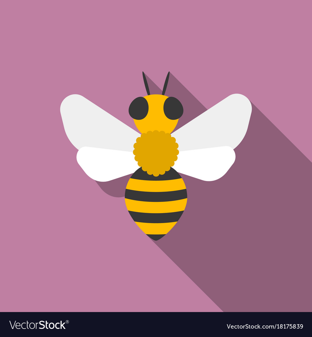 Bees iconflat design with long shadow