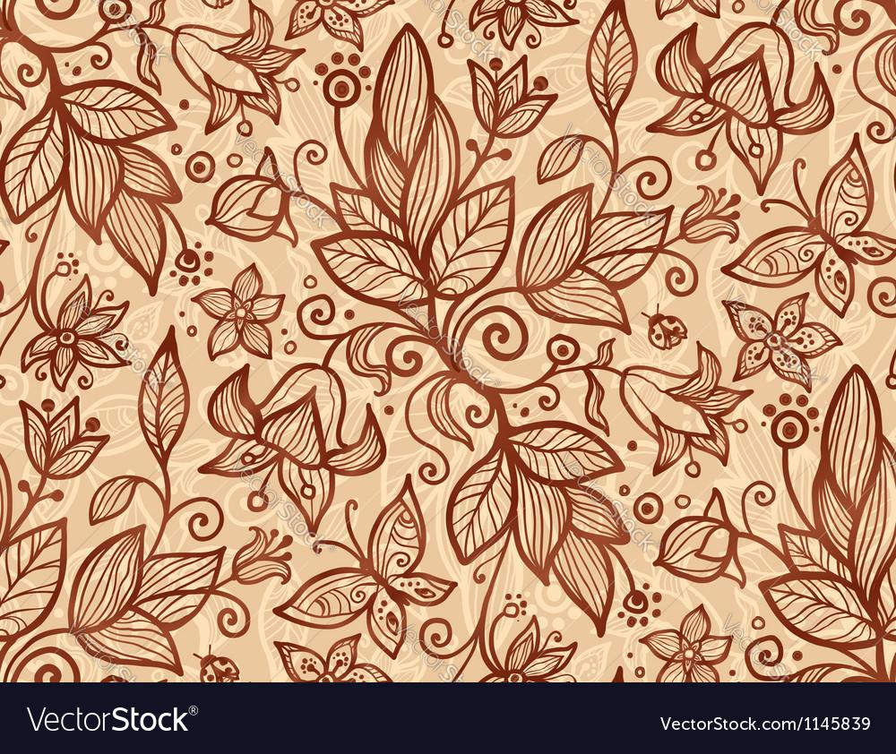 Beige flowers seamless pattern